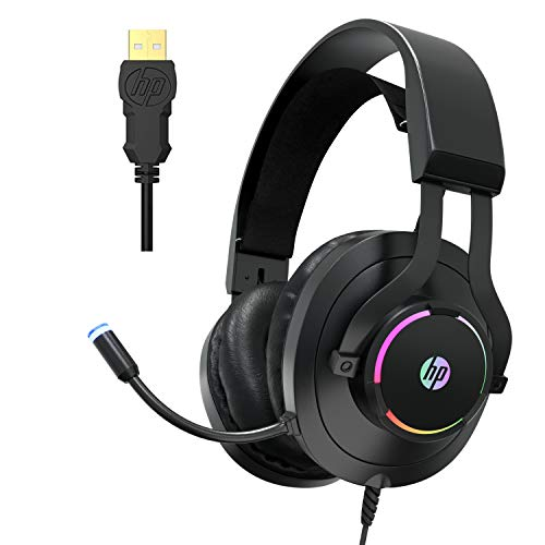 HP USB PC Gaming Headset with Microphone- 7.1 Virtual Surround Sound Game Headphones with Noise Cancelling Mic -Breathable Leatherette Memory Foam...