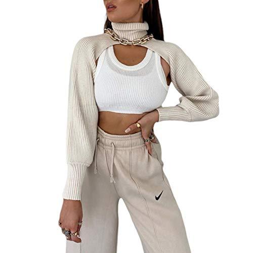 Damen Y2K Rollkragenpullover Puffärmel Crop Top Pullover Arm Warme Achselzucken Gestrickte Achselzucken Lässige Strickwaren Streetwear (Beige, Einheitsgröße)