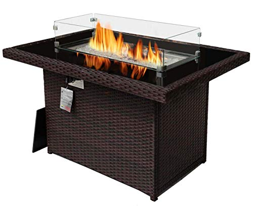 43'' Outdoor Patio Propane Gas Espresso PE Wicker Fire Pit Table 55,000 BTU Auto-Ignition Doube Pipes Firepit 8mm Tempered Glass Tabletop CSA Certificated with Wind Glass & Table Cover 2 Boxes Pack