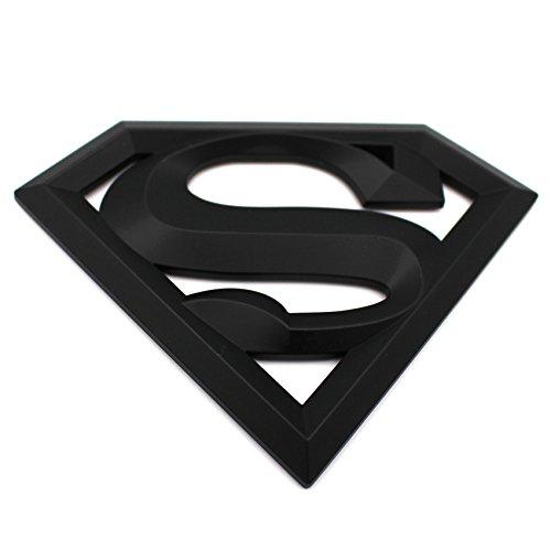 3D Emblem Superman Matt Schwarz Kunststoff mit Schaumstoff-Kleberückseite Badge von VmG-Store