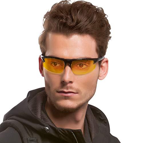 LVIOE Sport Gafas de visión nocturna HD polarizadas Antideslumbrante Antirreflectante para conducir y al aire libre (Negro/Amarillo)