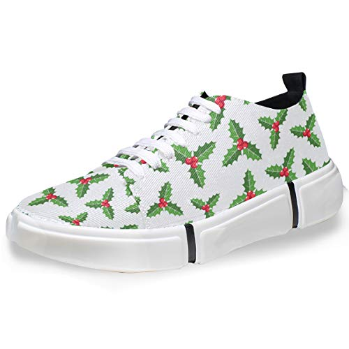 DEZIRO Christmas Ornament Mistletoe Men's Fashion Sneaker Casual Shoes