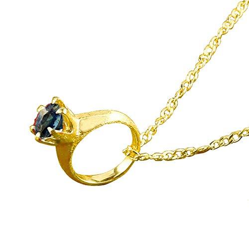 [アトラス] Atrus ネックレス メンズ 24金 純金 サファイア ベビーリング 一粒 立爪 ペンダント トップ 9月誕生石 チェーン(sv925イエローメッキ)