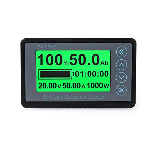 QWORK 500A Battery Monitor, High and Low Voltage Programmable Alarm Voltage Range 10V-120V and up to 500A, with B+ terminal wire and 20ft shielded wire
