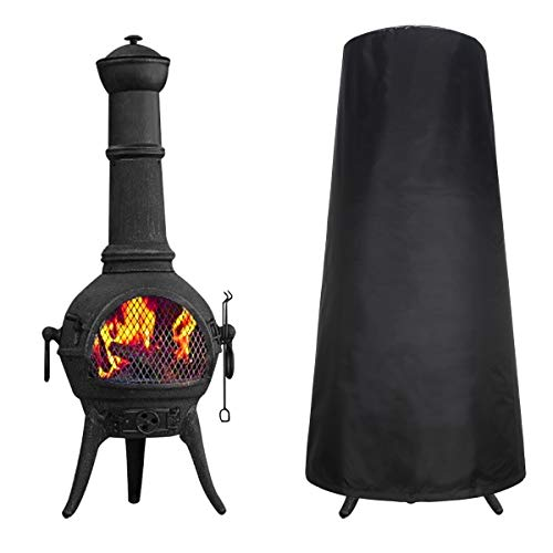 Yunxi Chiminea Cover,Chiminea for Garden,UV Resistance/Waterproof/Weatherproof Outdoor Garden Patio Heater Protector Cover (Black) 122 * 41 * 61CM