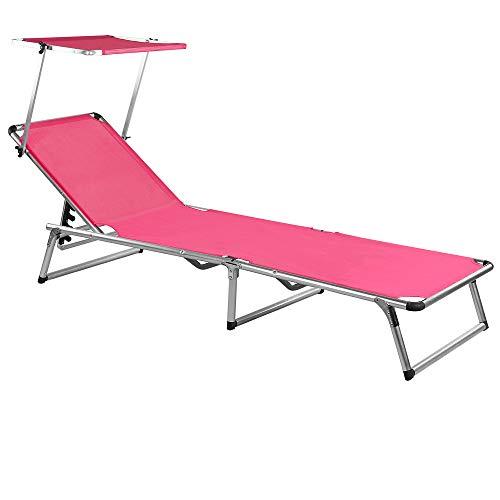 Alu Sonnenliege Sylt inkl. Sonnendach pink - Gartenliege Aluminium Sonnenliege Liegestuhl