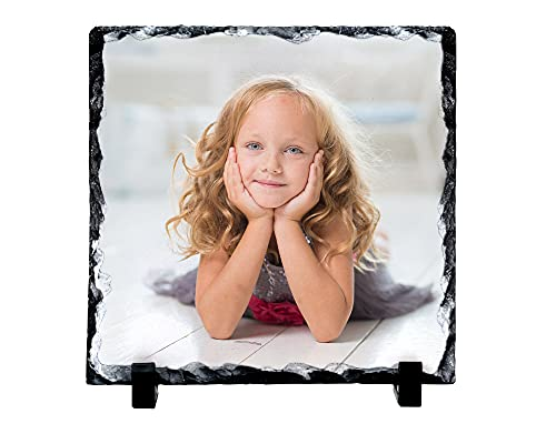 Photo Slate Personalised Square Shaped Glossy Photo Rock Slate Plaque -...