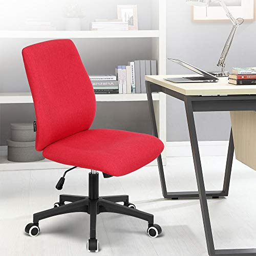 Okeysen Office Desk Chair, Ergonomic Mid Back Armless Task Studio Chair, Fabric Swivel Computer Chair Without Arms. (Red)