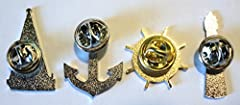 Set of Nautical Related Metal Badges Ship Anchor Lighthouse & Wheel #1