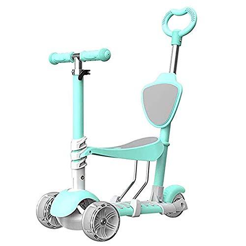 WXH Scooter para niños, Andador 5 en 1, de pie/Asiento, Modo Dual, Ruedas ensanchadas Antideslizantes, Altura Ajustable con Frenos, operación Simple, para niños de 2 a 8 años