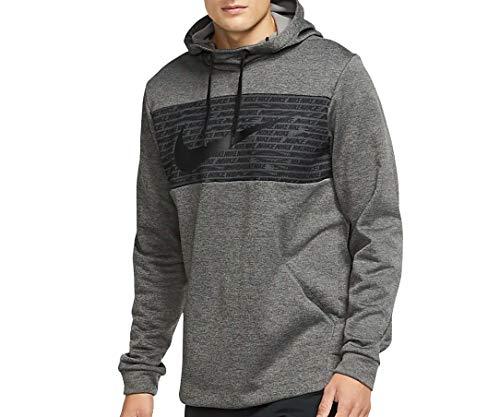 Nike Mens Therma Fleece Pull Over GFX 2 Hoodie Bv2764-010 (Grey, X-Large)