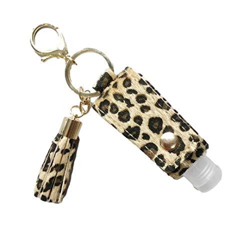 NAWCC 2 Desinfektionsmittelbehälter mit Ledertasche und Quastenverzierung, 30 ml Leere Flasche, für unterwegs, auslaufsicher (Leopardenmuster-Braun)