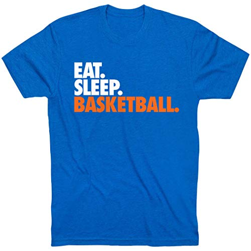 Eat. Sleep. Basketball. T-Shirt | Basketball Tees by ChalkTalk Sports | Royal | Adult Small