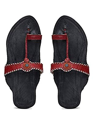 KALAPURI� Ladies Kolhapuri Chappal in Genuine Leather with Black Pointed Shape Base and Tiny Red Upper. Handmade in Kolhapur