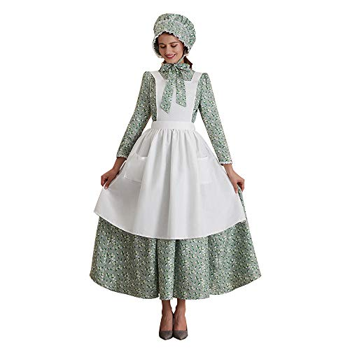 Abaowedding Womens American Pioneer Costume Dress Historical Modest Prairie Colonial Floral Dress Gr - http://coolthings.us