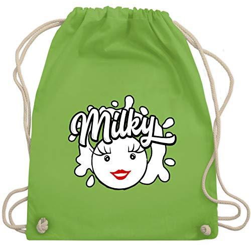 Shirtracer Karneval & Fasching - Milky & Schoki Splash Milch - Unisize - Hellgrün - Geschenk - WM110 - Turnbeutel und Stoffbeutel aus Baumwolle