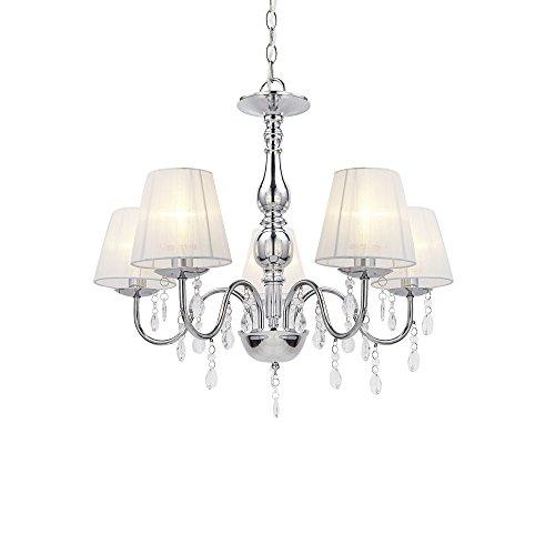lux.pro Kronleuchter Kristall Weiß E14 Modern Deckenleuchte 5-flammig Chrom