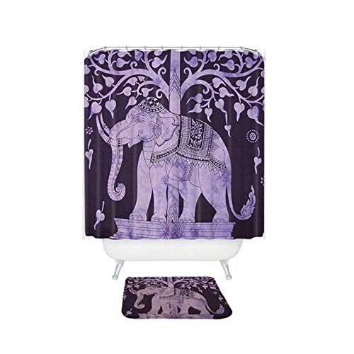 CDFD kleurrijke olifant bedrukt waterdicht polyester douchegordijn koraal fluweel antislip badmat set met 12 haken, 001,150x180cm en mat