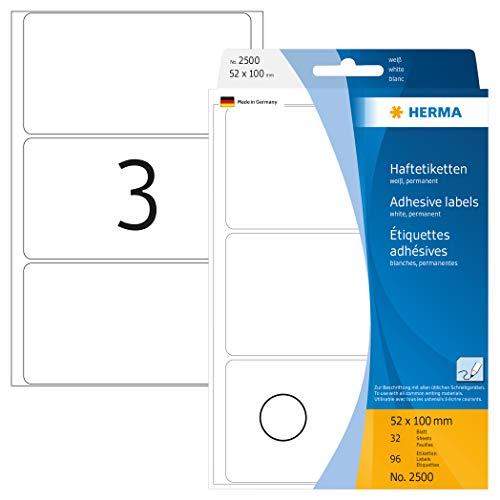 Herma 2500 veelzijdige etiketten (52 x 100 mm) wit, 96 zelfklevende etiketten, 32 vellen papier mat, zelfklevend, handbeschildering