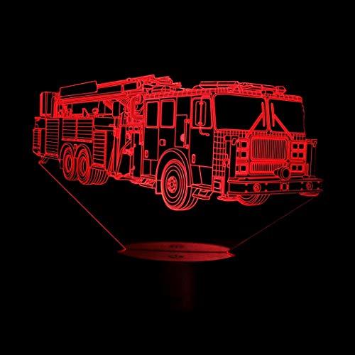 3D Feuerwehr Auto Illusions LED Lampen Tolle 7 Farbwechsel Acryl berühren Tabelle Schreibtisch-Nacht licht mit USB-Kabel für Kinder Schlafzimmer Geburtstagsgeschenke Geschenk