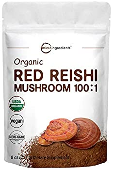 Sustainably US Grown Organic Reishi Mushroom Powder 8 Ounce Pure Reishi Supplement 100 1 Extract Active Content 30% Polysaccharides Strongly Supports Immune System & Antioxidant Vegan
