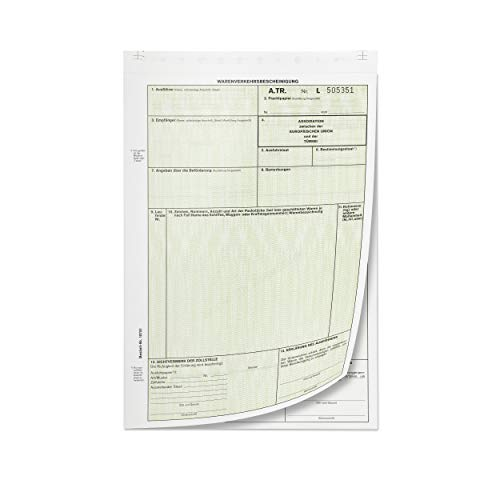 mashpaper A.TR. ATR Warenverkehrsbescheinigung Formular selbstdurchschreibend Menge wählbar 10, 50, oder 100 Stück