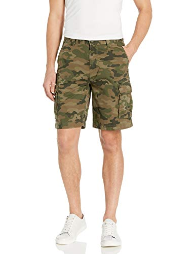 Amazon Essentials Men's Classic-Fit Cargo Short, Green/Brown Camo, 33