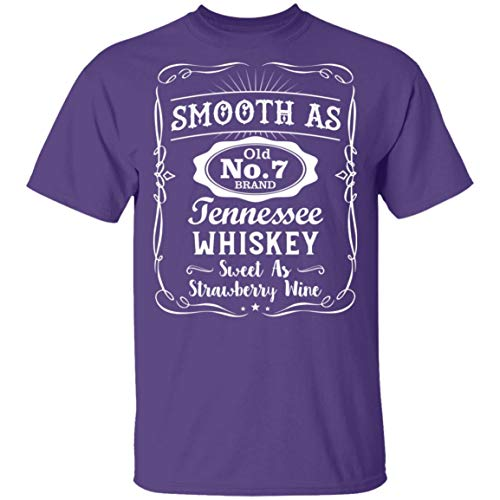 Smooth As Old No.7 Brand Tennessee Whiskey Sweet As Strawberry Wine Vintage T-Shirt - V-Neck, 2XL, Unisex T-Shirt/Purple