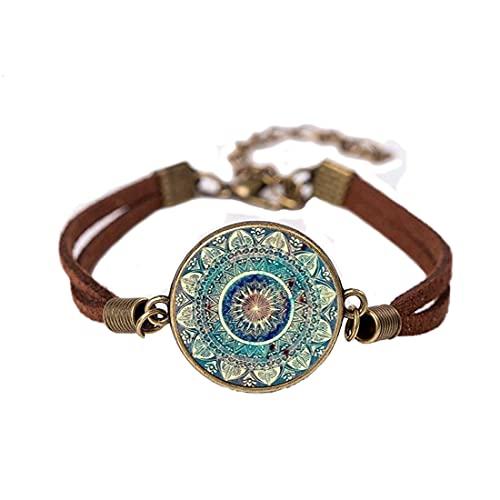 Pulsera de cristal de cúpula budismo chakra cristal cabujón joyería Om India Yoga Mandala Pulsera,PU353