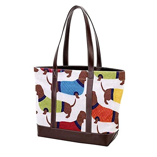 pijamas patrón de perro salchicha monedero de compras bolso de mano bolsos de hombro correa de peso ligero para madres mujeres niñas estudiantes