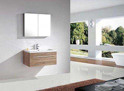 Mobile da bagno T900 - rovere chiaro - specchio e colonna sospesa a scelta, Specchio:Senza specchio, Colonna sospesa:Senza colonna sospesa
