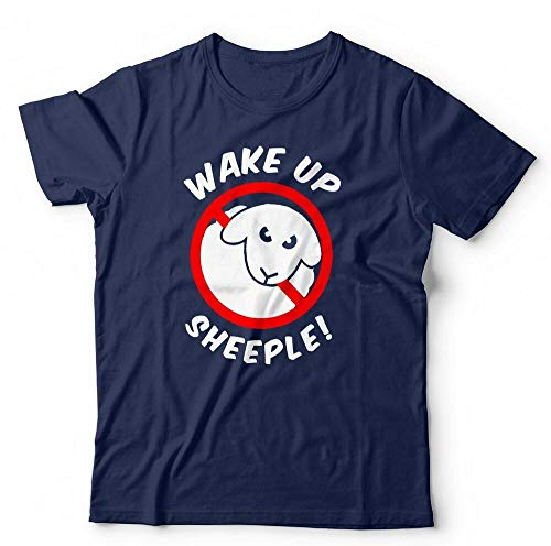 ACNJ Wake Up Sheeple Tshirt Unisex & Kids - Conspiracy, Revolution, Government Short-Sleeved Shirt Top Sweatshirt Blue XL