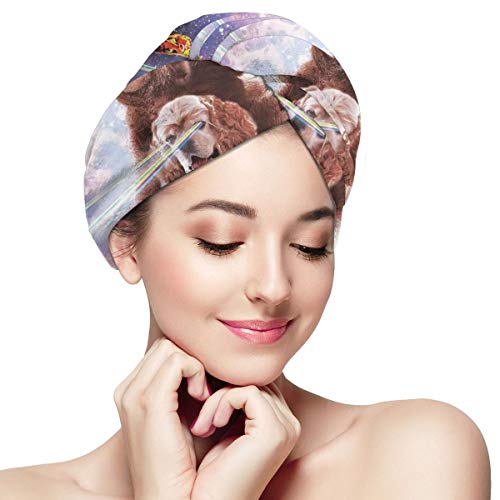 Space Cat Sloth Riding Dog Pizza Microfiber Hair Towel Wraps with Button for Women Quick Dry Anti-frizz Head Turban for Long Thick Curly Hair Super Absorbent Soft Bath Cap 11¡± X 28¡±