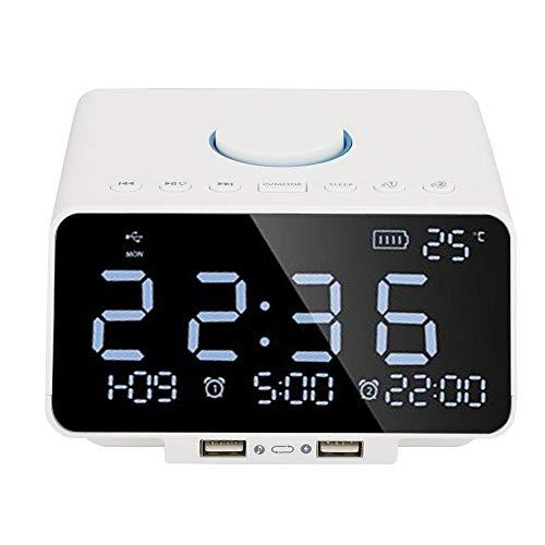 Altavoz con Alarma, K9 Pantalla LED Regulable de 5.5 Pulgadas Altavoz Llamadas Manos Libres Soporte de Altavoz Recargable USB FM, Tarjeta TF(Blanco)