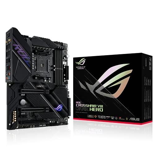 ASUS ROG CROSSHAIR VIII DARK HERO, Scheda madre Gaming AMD X570 ATX con PCIe 4.0, 16 fasi di alimentazione, OptiMem III, Wi-Fi 6 (802.11ax), LAN da 2,5 Gbps, USB 3.2, SATA, M.2, Aura Sync RGB