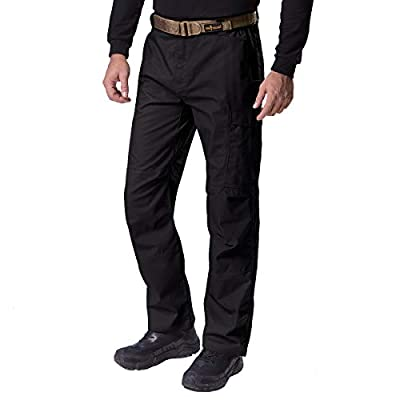 FREE SOLDIER Men's Water Resistant Pants Relaxed Fit Tactical Combat Army Cargo Work Pants with Multi Pocket (Classic Black 36W/32L)