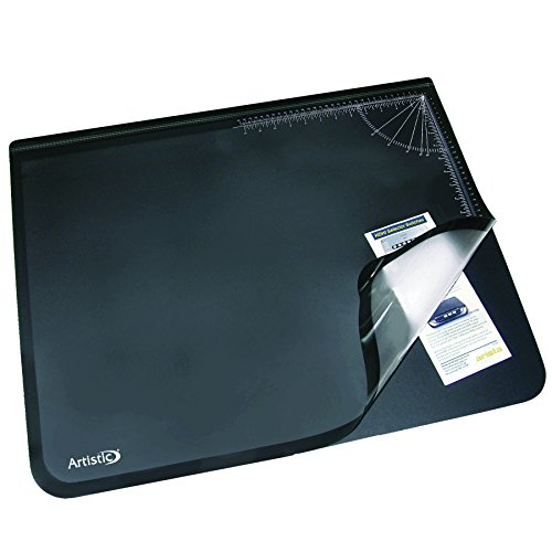 "Artistic 41200 Office Products 20"" x 31"" Logo Pad Lift-top Desktop Organizer Desk Mat, Black/Clear"