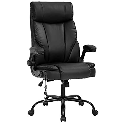 Office Chair Ergonomic Desk Chair PU Leather Computer Chair with Lumbar Support Flip up Armrest Task Chair Rolling Swivel Executive Chair for Women Adults