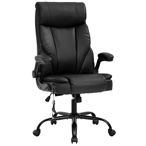 Massage Office Chair Ergonomic Desk Chair PU Leather Computer Chair with Lumbar Support Flip up Armrest Task Chair Rolling Swivel Executive Chair for Women Adults(Black)