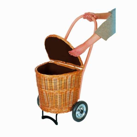 Andersen Geflecht Einkaufstrolley mit Creme Stoff Größe L