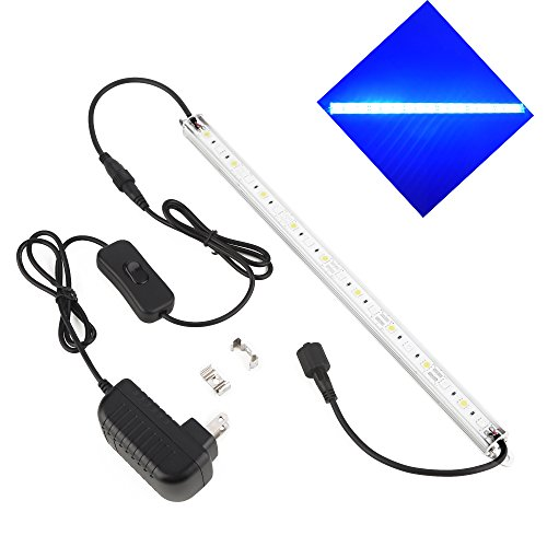 LedHome Aquarium Light, Aquarium LED Strip Fish Tank Light Waterproof Aluminum Fish Tank Lamp for Freshwater and Saltwater 12-inch 18LEDs Blue&White Color With Adaptor