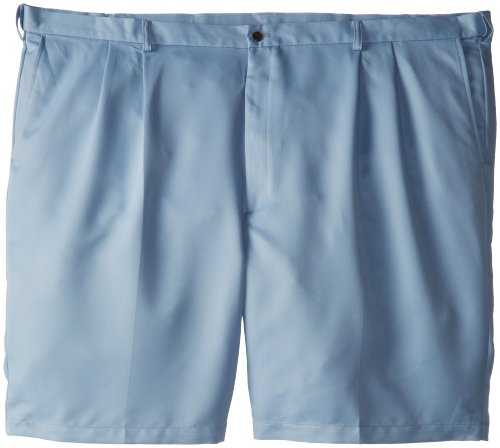 Haggar Men's Big-Tall Cool 18 Expandable Waist Pleat Front Solid Gabradine Short, Chambray, 46