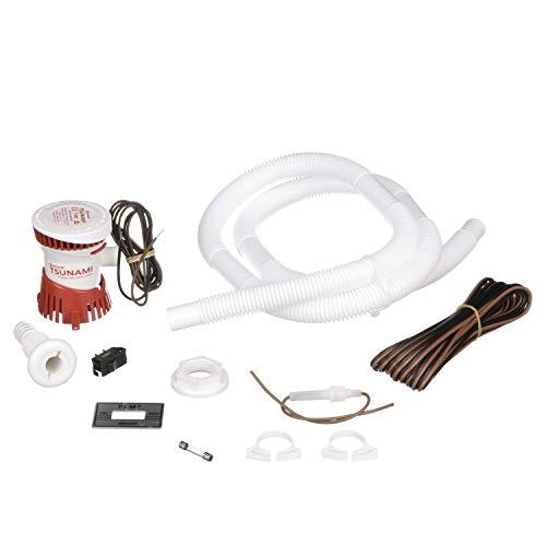attwood 4614-7 Bilge Pump Installation Kit, with Tsunami T500 Bilge Pump, On/Off Switch, Hose, Thru-Hull Fitting, Hose Clamps