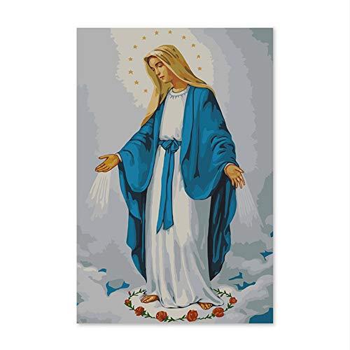 Xyywqybg Pintura Al Óleo Digital Diy Por Números Dibujo Pintado A Mano Foto La Virgen María, La Madre De Jesús, La Pintura Al Óleo Igital-40X50Cm, Combo Box