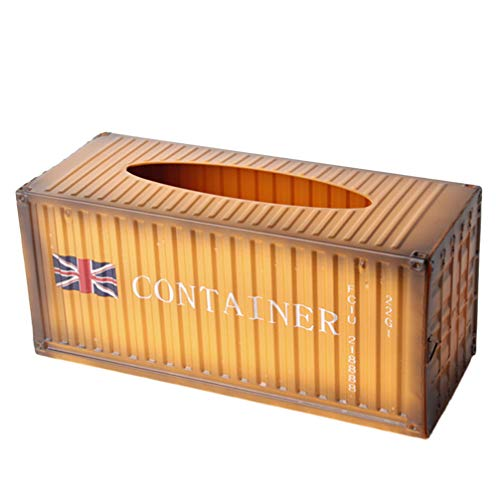 Exceart Metalen Verzenddoos Tissue Box Houder Rechthoekige Papieren Handdoekhouder Desktop Servet Opslag Container Voor Thuis Hotel Oranje