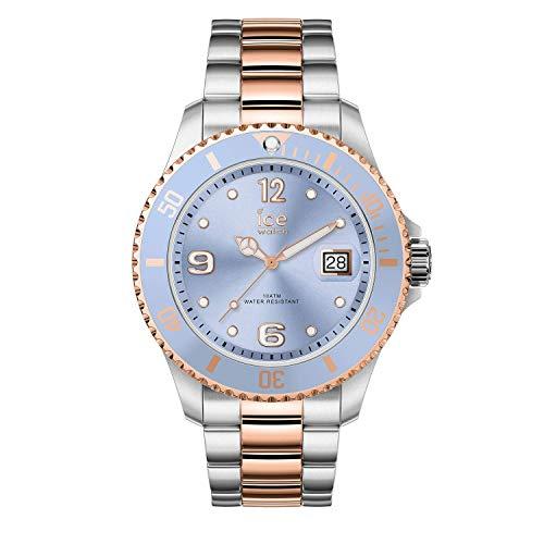Ice-Watch - ICE steel Sky silver rose-gold - Silbergraue Damenuhr mit Metallarmband - 016770 (Medium)