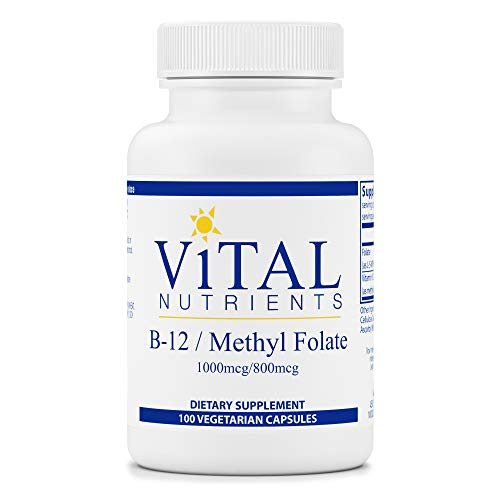Vital Nutrients - Vitamin B12 / Methyl Folate - Supports Healthy Brain Cell Function - 100 Capsules per Bottle