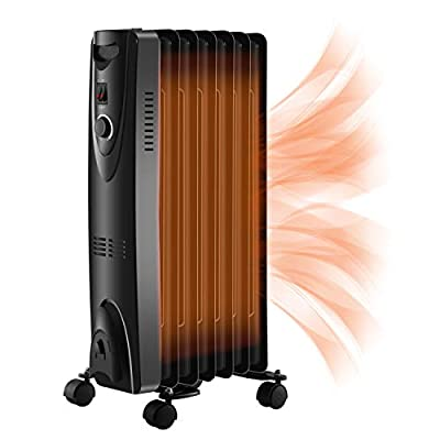 RMYHOME Space Heater Oil Filled Radiator Heater with Adjustable Thermostat, 1500W Portable Heater with 3 Heat Settings, Overheat and Tip Over Protection with Buttons for Home & Office, Black