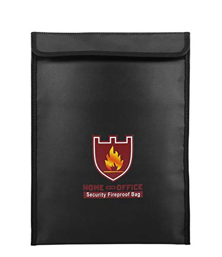 """Luxspire Fireproof Document Bag, 15"""" x 11"""" Double Silicone Fiberglass Cloth Fire Resistant Money Bag Passport Holder, Zipper Closure Pouch for Protecting Money, Documents, Jewelry, Black"""