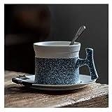 Taza de café Euro Europeo Taza Helada Taza de café y platillo Conjunto de la Personalidad Hogar Creativo Taza de café con la Cuchara y el platillo Taza de cerámica y platillo de cerámica Simple ZDWN